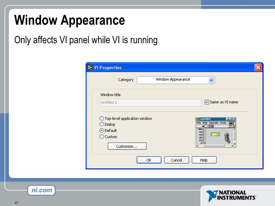 Window Appearance Only affects VI panel while VI is running