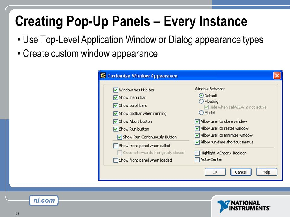 Creating Pop-Up Panels – Every Instance