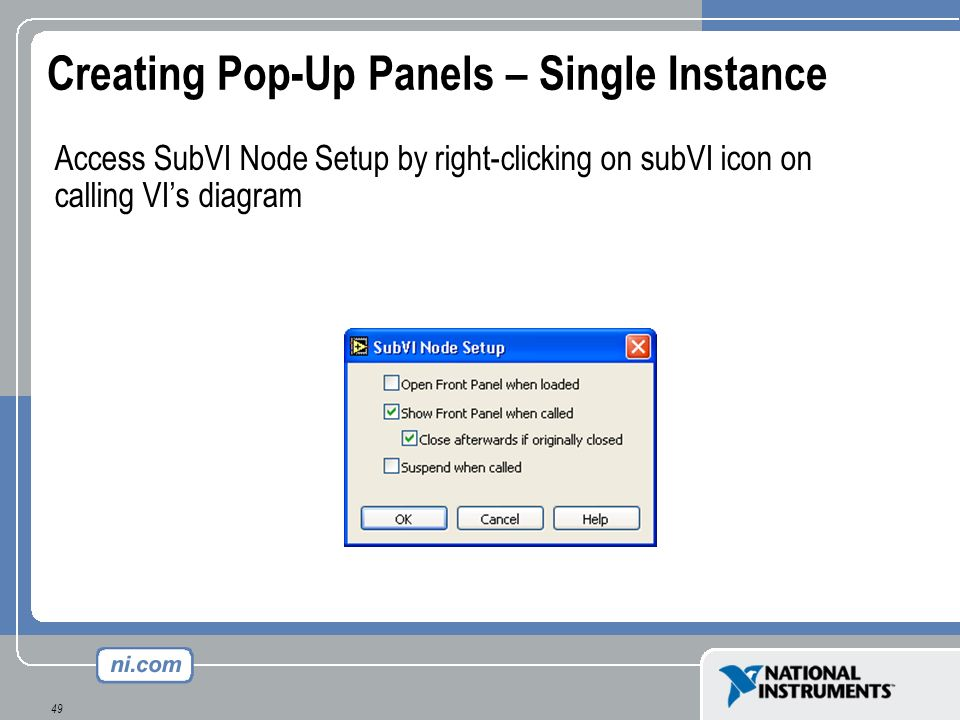 Creating Pop-Up Panels – Single Instance