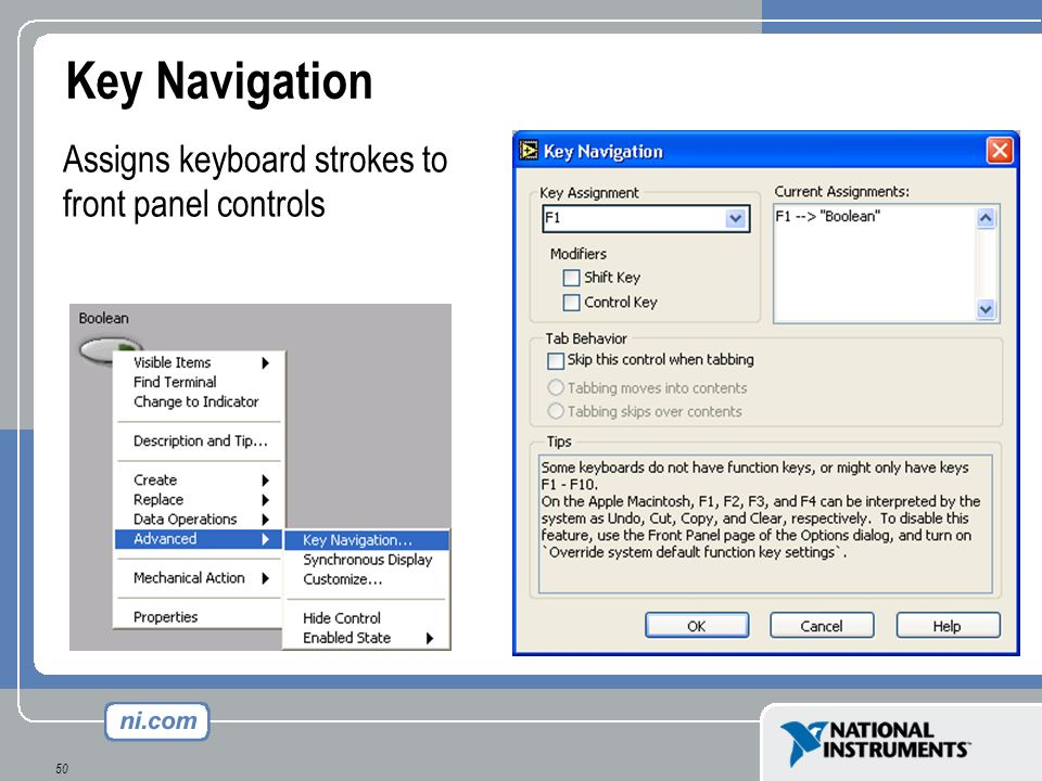 Key Navigation Assigns keyboard strokes to front panel controls