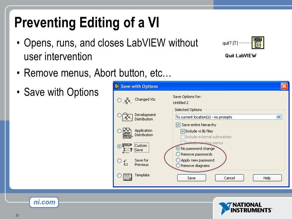 Preventing Editing of a VI