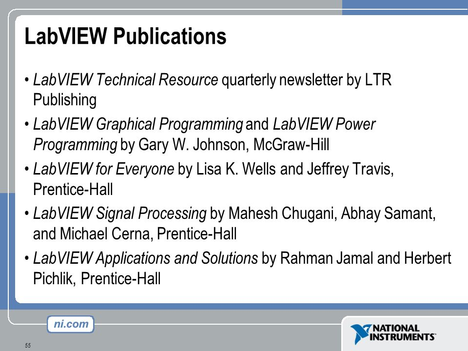 LabVIEW Publications LabVIEW Technical Resource quarterly newsletter by LTR Publishing.
