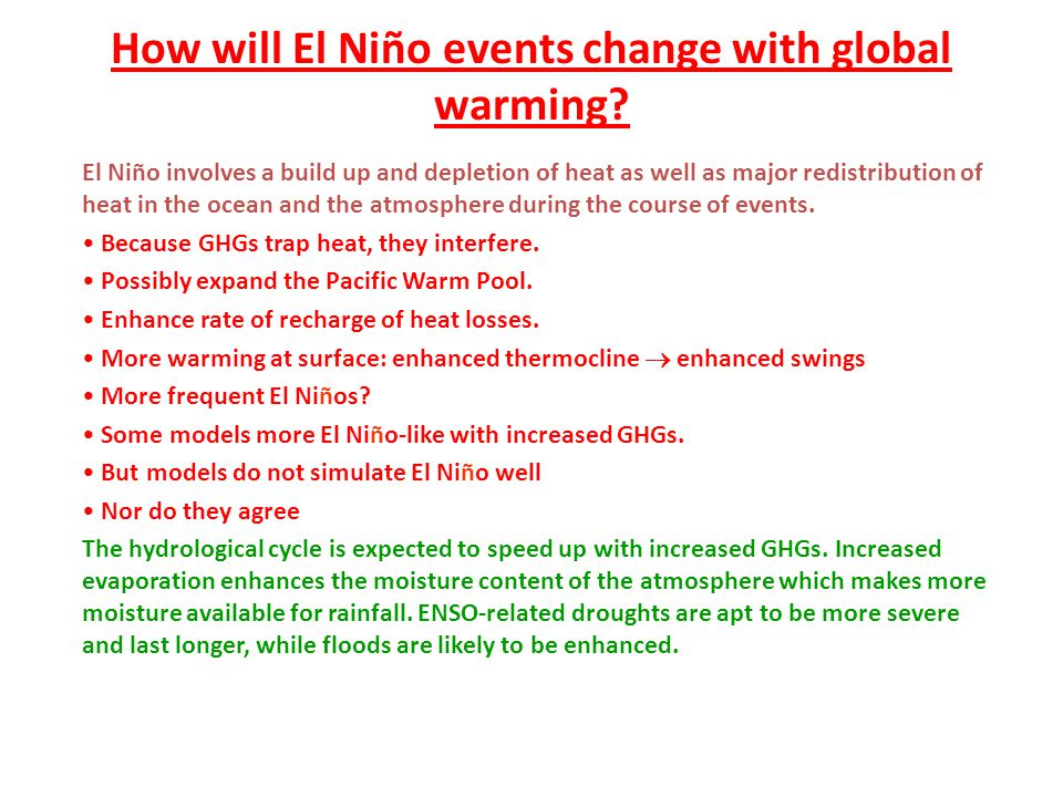 How will El Niño events change with global warming
