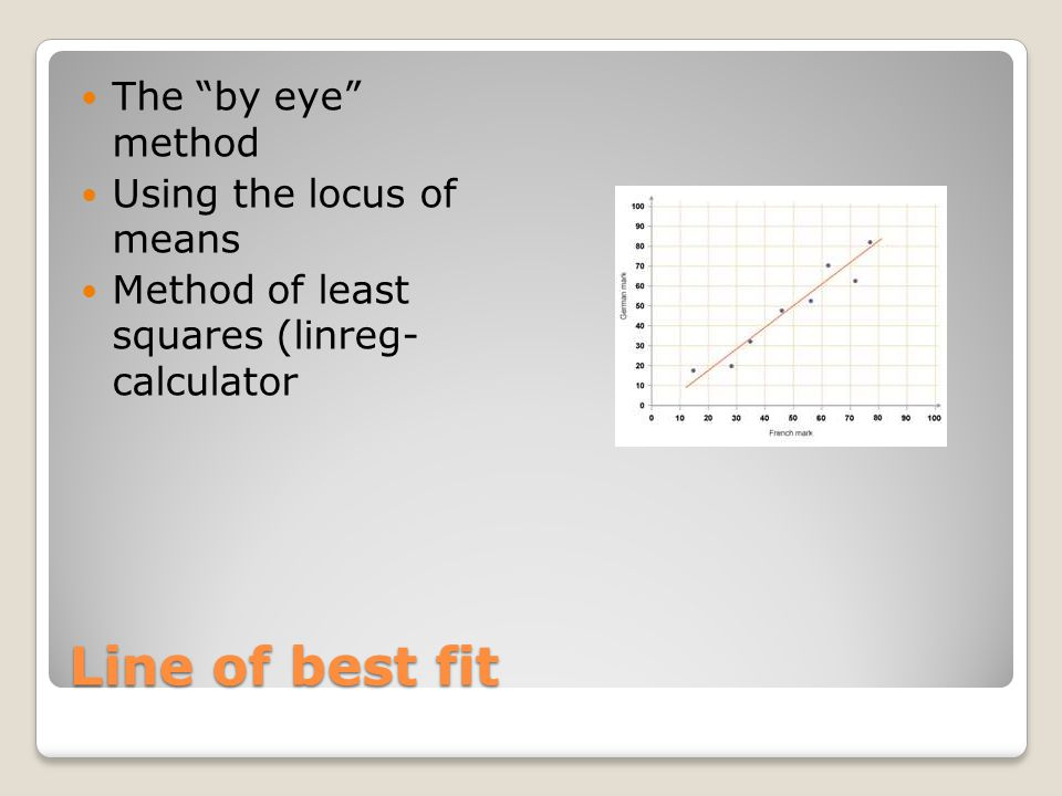 Line of best fit The by eye method Using the locus of means