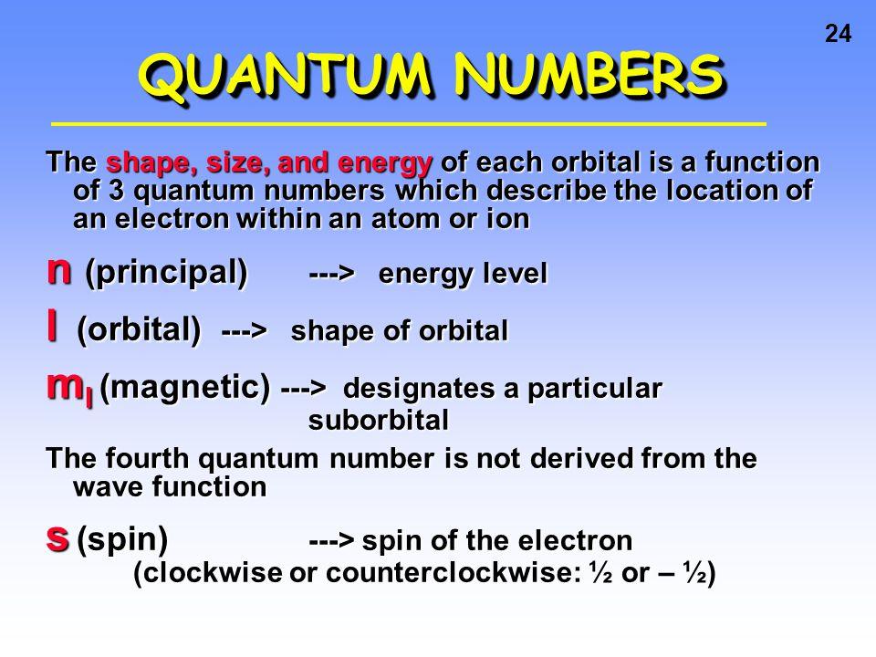 QUANTUM NUMBERS n (principal) ---> energy level