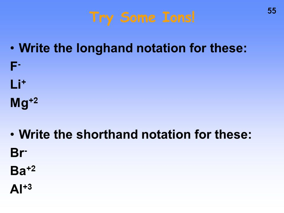 Try Some Ions! Write the longhand notation for these: F- Li+ Mg+2