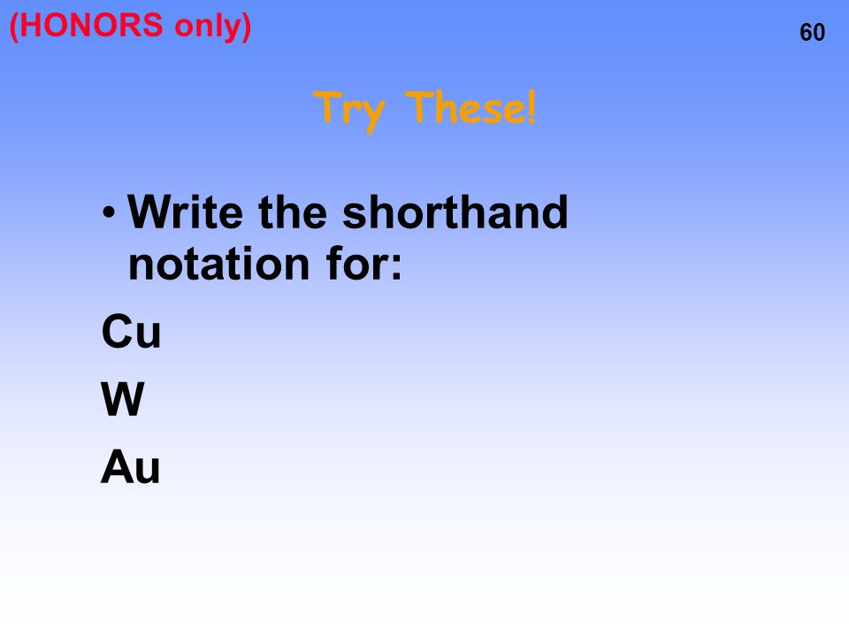 Write the shorthand notation for: Cu W Au