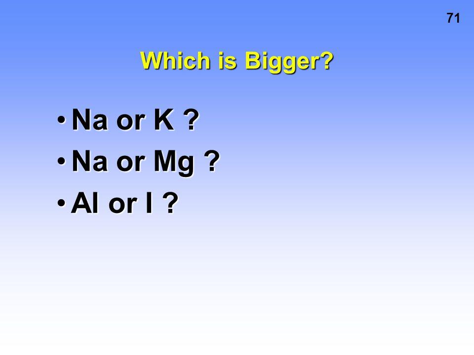 Which is Bigger Na or K Na or Mg Al or I