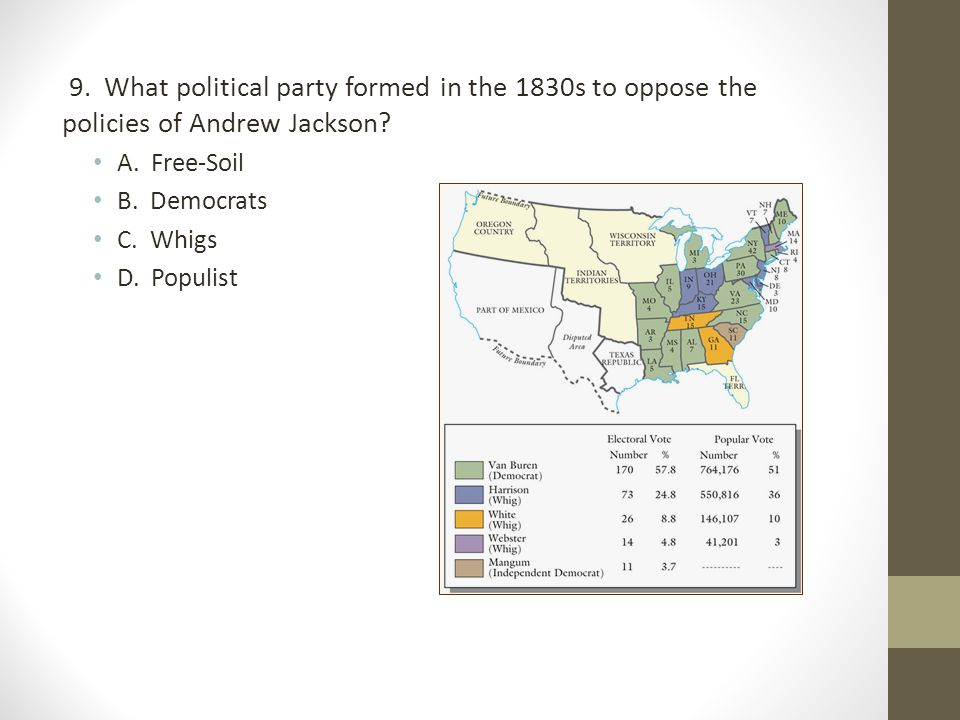 9. What political party formed in the 1830s to oppose the policies of Andrew Jackson