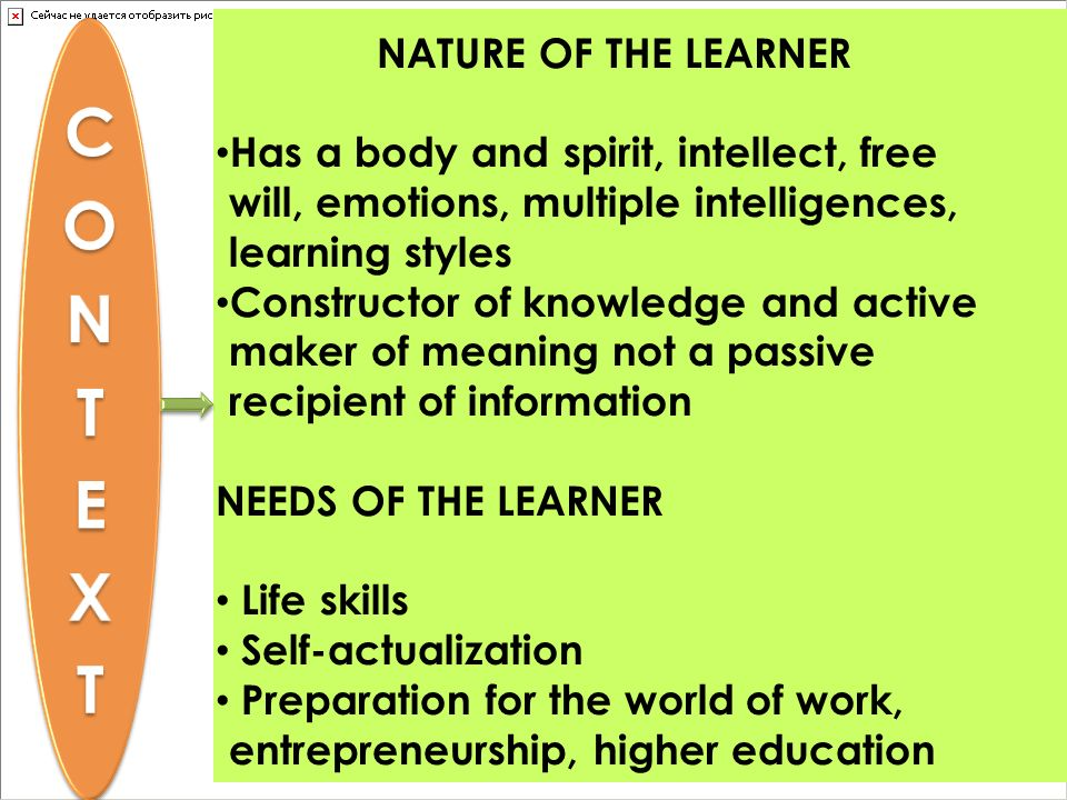 CONTEXT NATURE OF THE LEARNER