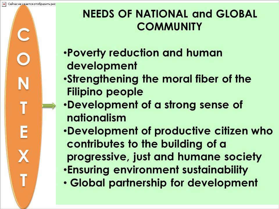 NEEDS OF NATIONAL and GLOBAL COMMUNITY