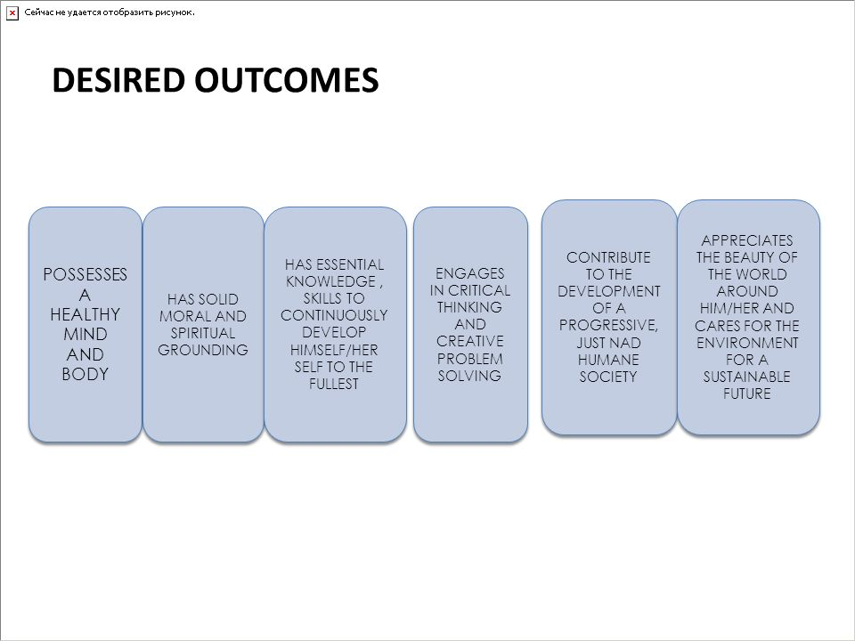 DESIRED OUTCOMES POSSESSES A HEALTHY MIND AND BODY