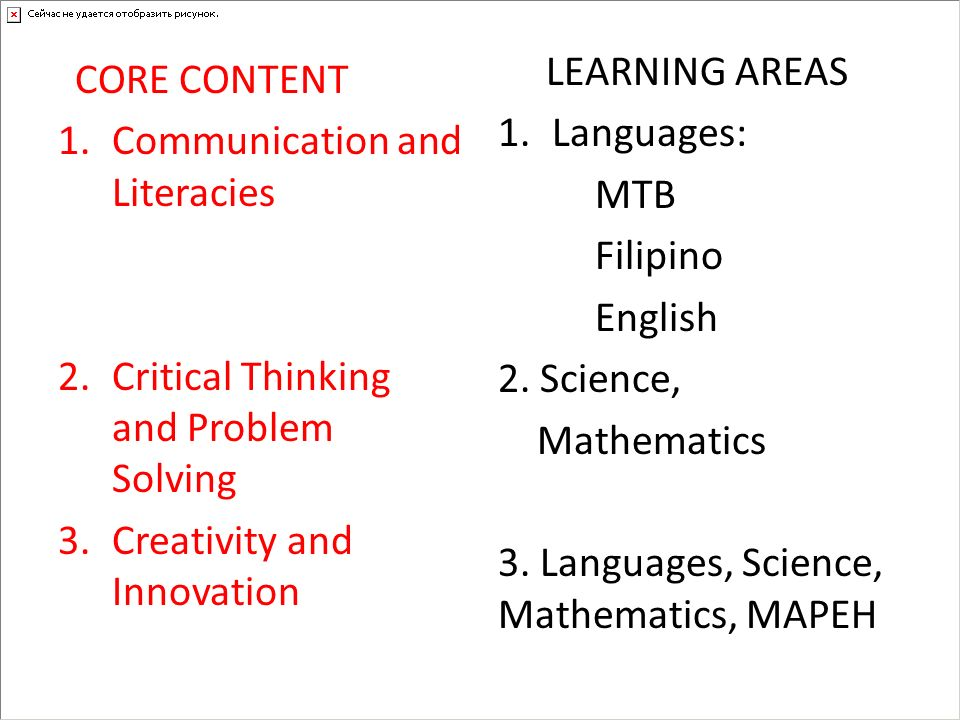 3. Languages, Science, Mathematics, MAPEH Communication and Literacies