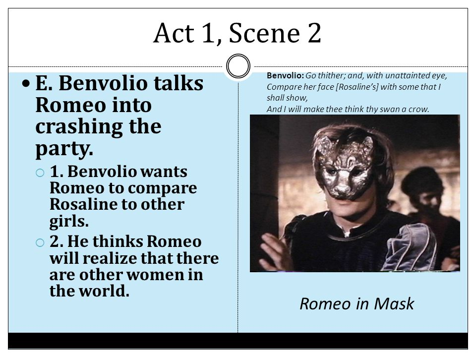 Act 1, Scene 2 E. Benvolio talks Romeo into crashing the party.