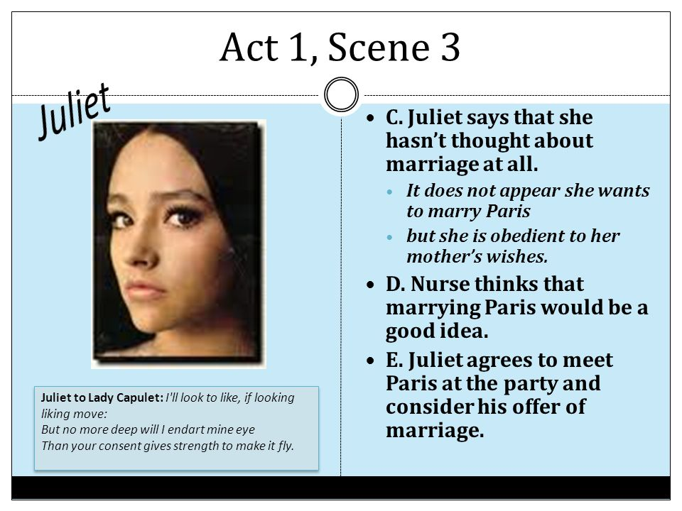 Act 1, Scene 3 Juliet. C. Juliet says that she hasn't thought about marriage at all. It does not appear she wants to marry Paris.
