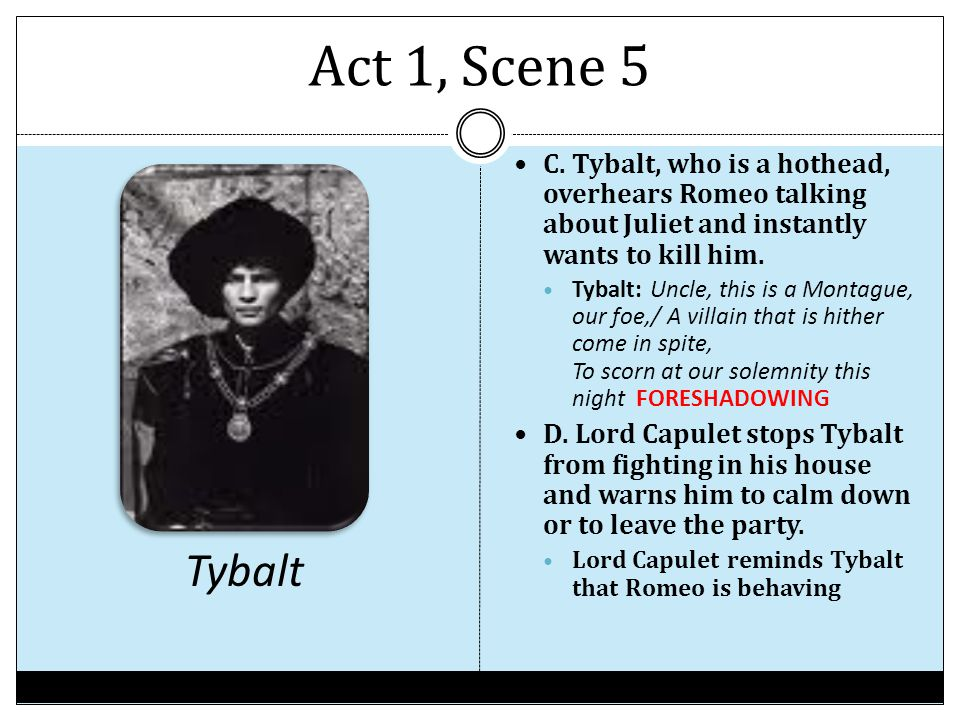 Act 1, Scene 5 C. Tybalt, who is a hothead, overhears Romeo talking about Juliet and instantly wants to kill him.