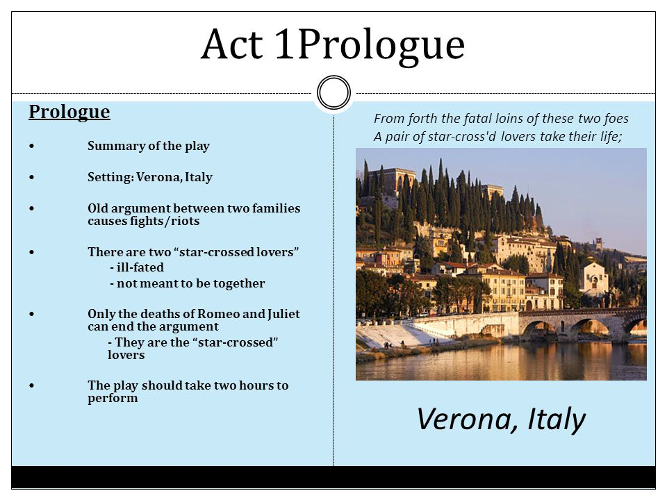 Act 1Prologue Verona, Italy Prologue