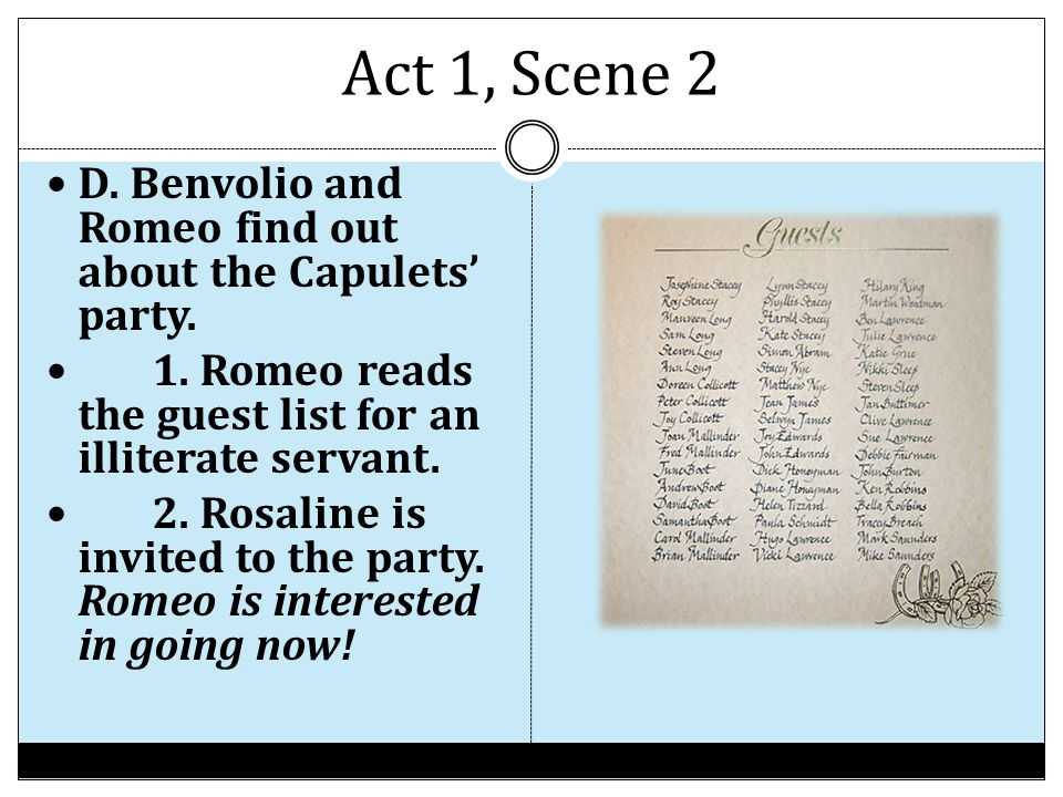 Act 1, Scene 2 D. Benvolio and Romeo find out about the Capulets' party. 1. Romeo reads the guest list for an illiterate servant.