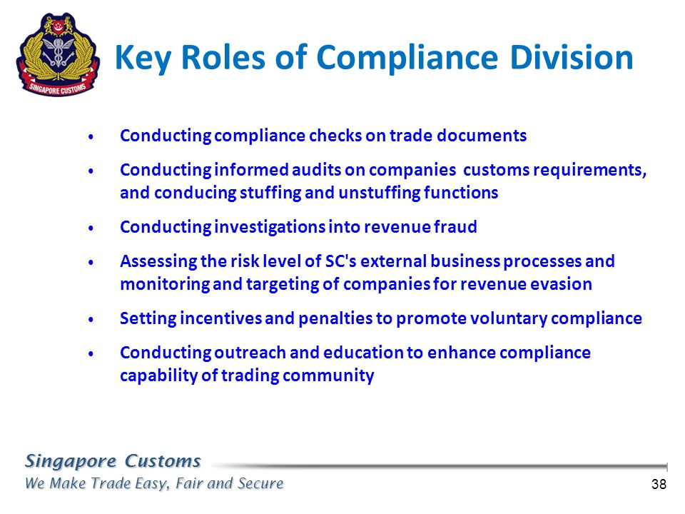 Key Roles of Compliance Division