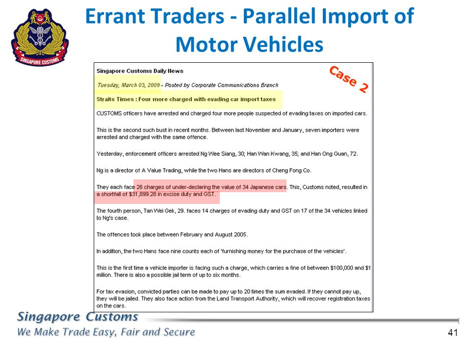 Errant Traders - Parallel Import of Motor Vehicles
