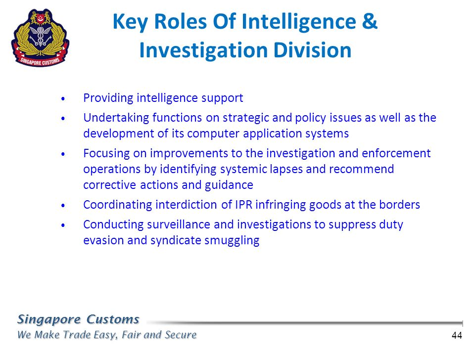 Key Roles Of Intelligence & Investigation Division