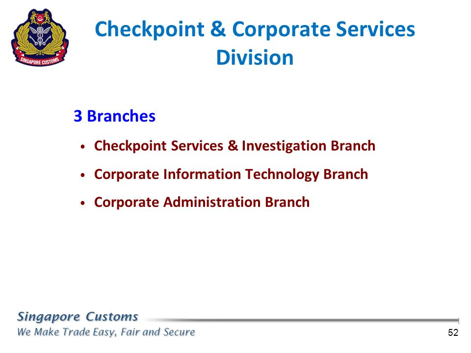 Checkpoint & Corporate Services Division
