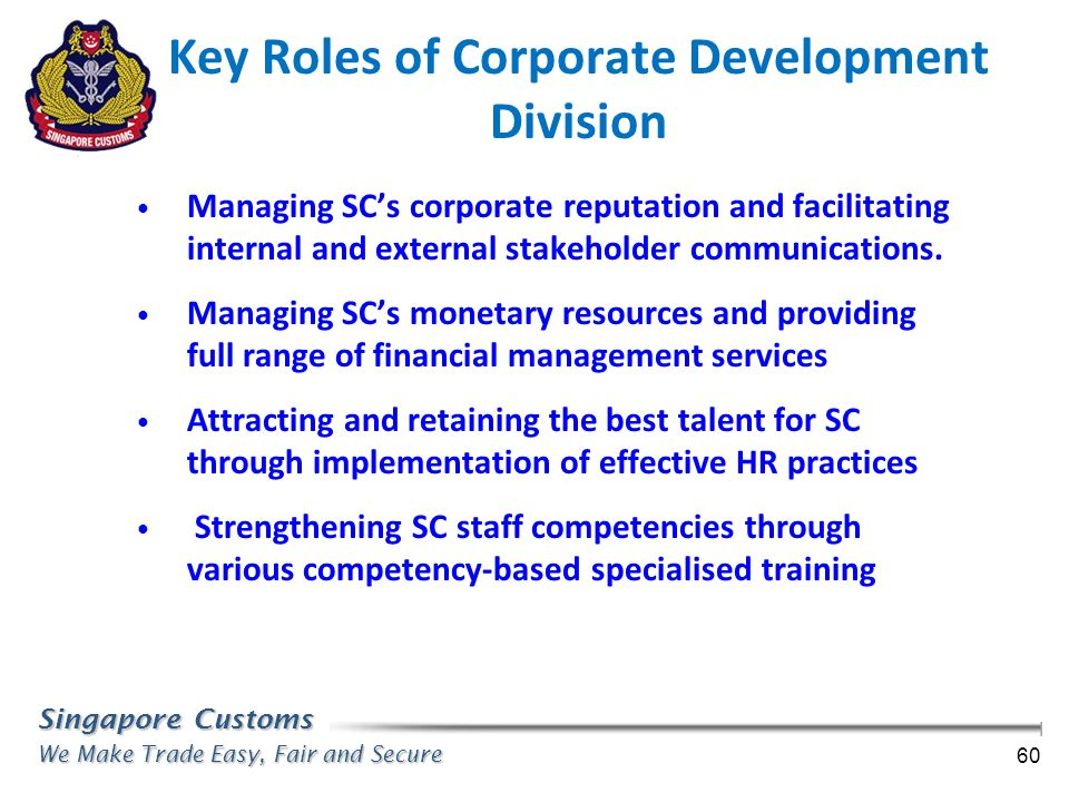 Key Roles of Corporate Development Division