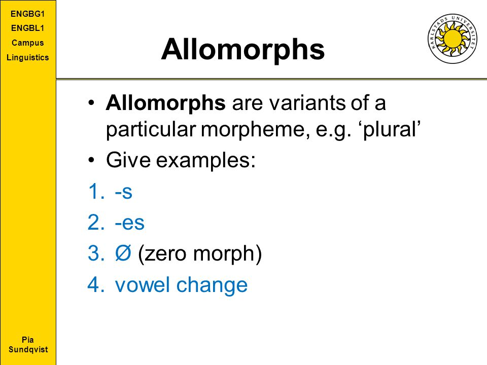 Allomorphs Allomorphs are variants of a particular morpheme, e.g. 'plural' Give examples: -s. -es.