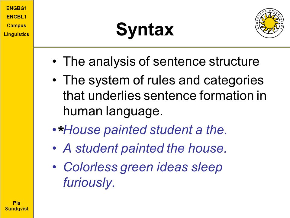 Syntax * The analysis of sentence structure