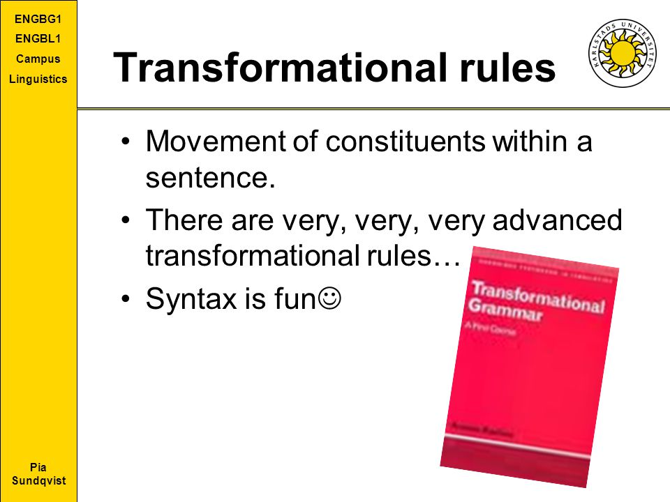 Transformational rules