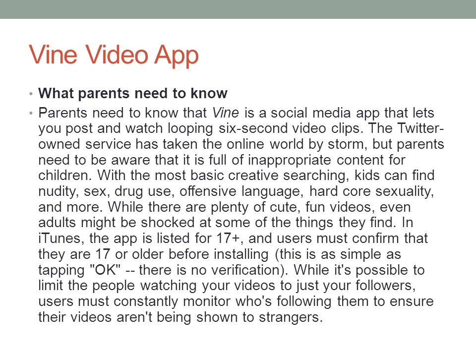 Vine Video App What parents need to know