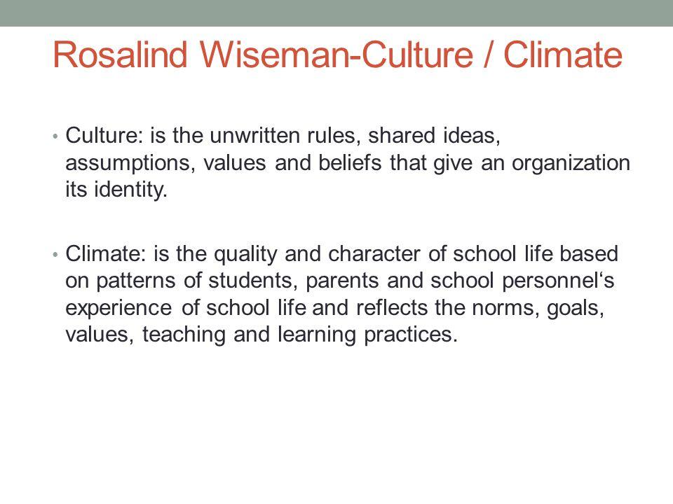 Rosalind Wiseman-Culture / Climate
