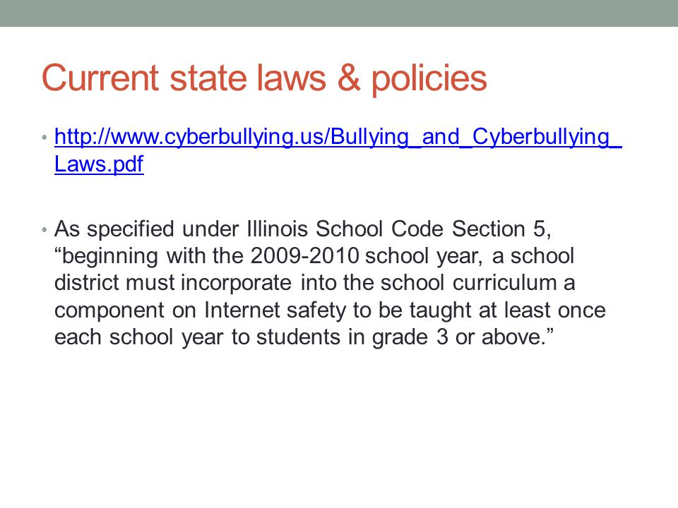 Current state laws & policies