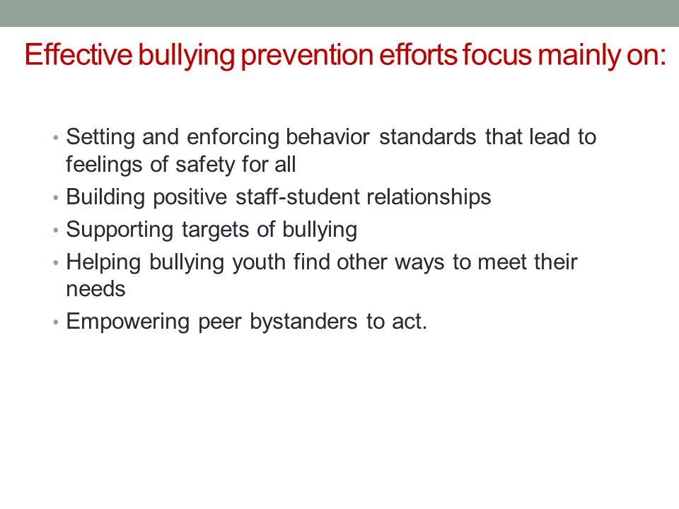 Effective bullying prevention efforts focus mainly on: