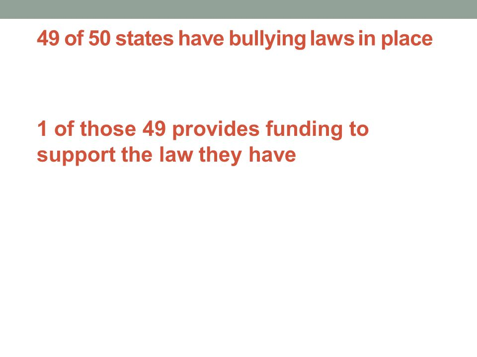 49 of 50 states have bullying laws in place