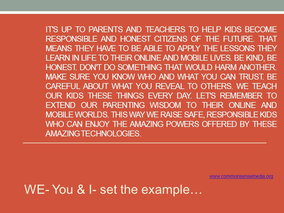 WE- You & I- set the example…