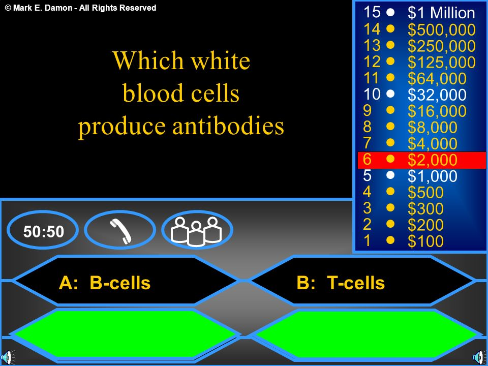 Which white blood cells produce antibodies A: B-cells 15 $1 Million 14