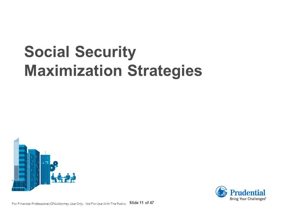 Social Security Maximization Strategies