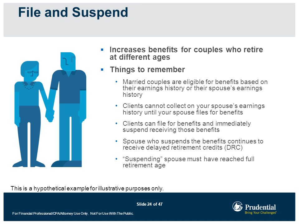File and SuspendIncreases benefits for couples who retire at different ages. Things to remember.