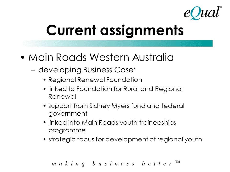 Current assignments Main Roads Western Australia