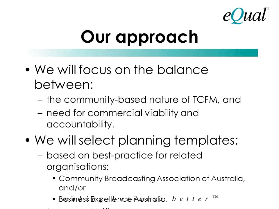 Our approach We will focus on the balance between: