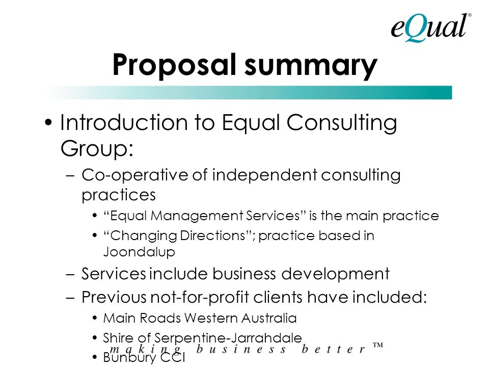 Proposal summary Introduction to Equal Consulting Group: