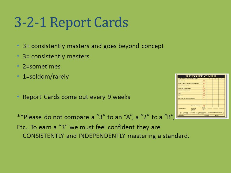 3-2-1 Report Cards 3+ consistently masters and goes beyond concept