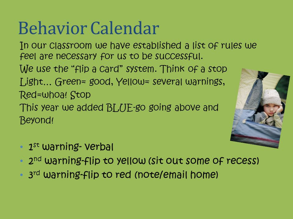 Behavior Calendar 1st warning- verbal