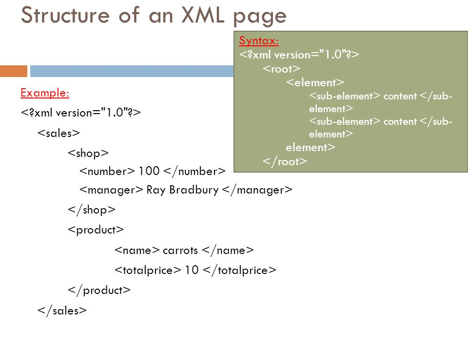 Structure of an XML page