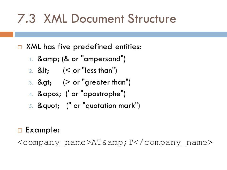7.3 XML Document Structure