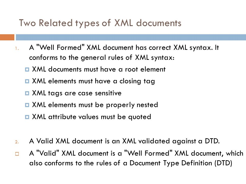 Two Related types of XML documents