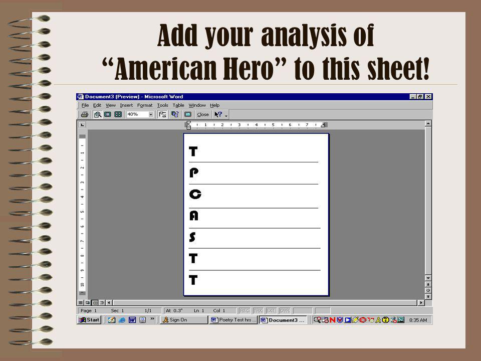 American Hero to this sheet!