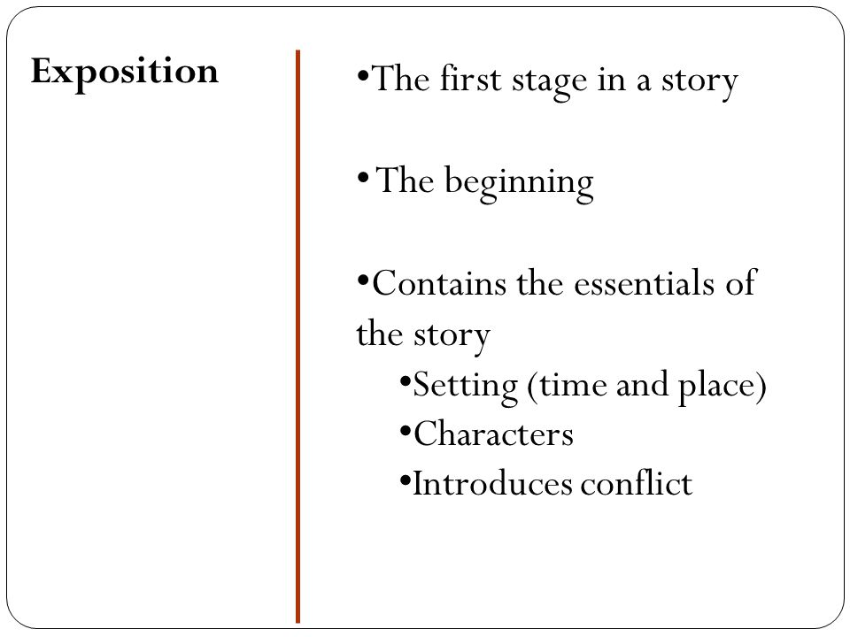 The first stage in a story The beginning