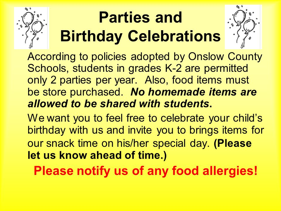 Parties and Birthday Celebrations
